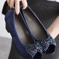 รองเท้าคัทชูส้นสูง เปิดหน้า แต่งโบว์ (สีน้ำเงิน)