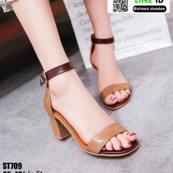 งานนำเข้า รองเท้าส้นรัดข้อ ST709-BRN [สีน้ำตาล]