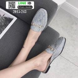 รองเท้าส้นเตี้ยนำเข้าน่ารักมากๆค่ะ 2015-243-เทา [สีเทา]