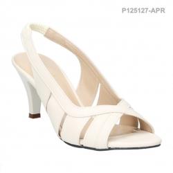 รองเท้าส้นสูงรัดส้น เปิดหลังเท้า (สีขาว )