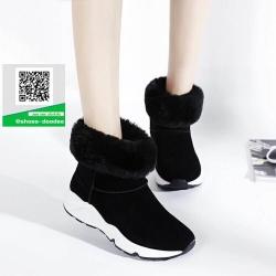 รองเท้าบูทเกาหลีสีดำ หนังวัวนิ่ม บุขน (สีดำ )