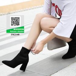 รองเท้าบูทส้นสูงสีดำ หัวแหลม สไตล์ใหม่ (สีดำ )
