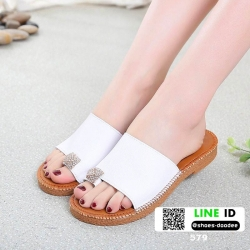 รองเท้าแตะคีบ ประดับเพชร 579-WHI [สีขาว]