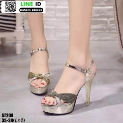 รองเท้าส้นสูงรัดข้อเปิดท้าย ST208-GLD [สีทอง]