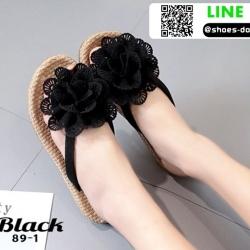 รองเท้าแตะหูคีบสไตล์เกาหลี 89-1-BLK [สีดำ]