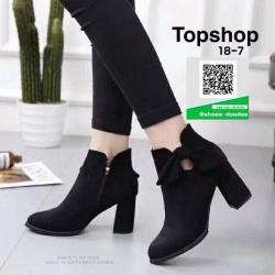 รองเท้าบูทส้นสูงสีดำ สไตล์เกาหลี หนังนิ่ม (สีดำ )