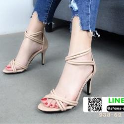 รองเท้าส้นเข็มรัดข้อ ปิดส้น คาดเส้น 938-62-NUDE [สีนู๊ด]