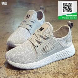 รองเท้าผ้าใบเสริมส้นสีชมพู ทรงSport (สีชมพู )
