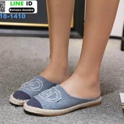 รองเท้าเปิดส้น Chanel canvas style 18-1410-BLU [สีน้ำเงิน]
