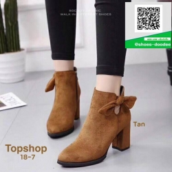 รองเท้าบูทส้นสูงสีแทน สไตล์เกาหลี หนังนิ่ม (สีแทน )