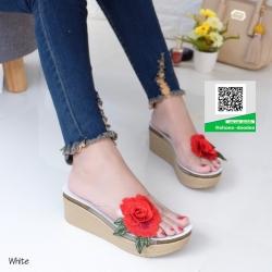 รองเท้าส้นเตารีดสีขาว แต่งดอกกุหลาบสีแดง (สีขาว )