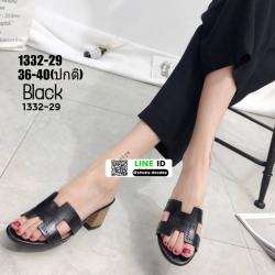 รองเท้าแตะสวมส้นเหลี่ยม 1332-29-BLK [สีดำ]