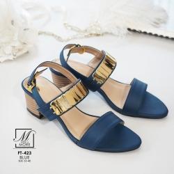 รองเท้าส้นตันรัดส้นสีน้ำเงิน สายคาดสองระดับ แต่งอะไหล่สีทอง (สีครีม )