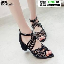 รองเท้าหุ้มส้นเปิดหน้า งานนำเข้า100% ST503-BLK [สีดำ]