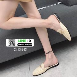 รองเท้าส้นเตี้ยนำเข้าน่ารักมากๆค่ะ 2015-243-ครีม [สีครีม]