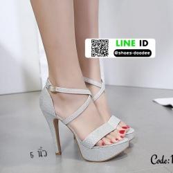 รองเท้าส้นสูงรัดส้น สไตล์เกาหลี งานนำเข้า 17-8237D5-SIL [สีเงิน]