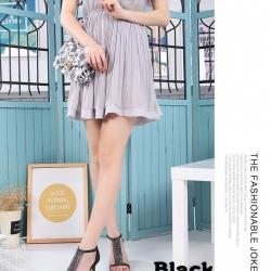 รองเท้าส้นเข็มหุ้มข้อสีดำ ผ้าสักหราด แฟชั่นเกาหลี (สีเบจ )