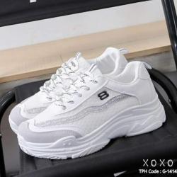 รองเท้าผ้าใบเสริมส้น ทรง Sport G-1414-WHI [สีขาว]