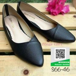 รองเท้าคัทชูส้นเตี้ยสีดำ หัวแหลม Flat Shoes (สีดำ )