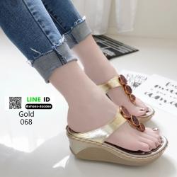 รองเท้าส้นเตารีดแบบคีบ 068-ทอง [สีทอง]