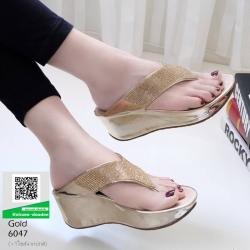 รองเท้าเตารีด เสริมส้นหูคีบ หน้าเพรชวิ้งๆ 6047-ทอง [สีทอง]