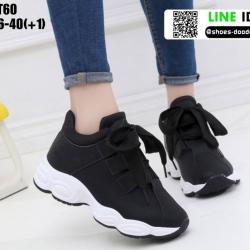 รองเท้าผ้าใบ งานนำเข้า100% วัสดุผ้าหนังนิ่ม ST60-BLK [สีดำ]