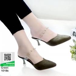 รองเท้าส้นสูง ส้นทรงแก้วไวน์ 10186-เขียว [สีเขียว]