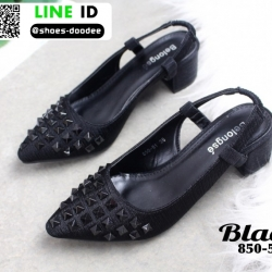 รองเท้าหัวแหลม สไตล์ zara top basic 850-51-BLK [สีดำ]