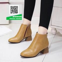 รองเท้าหุ้มข้อบูทสั้นสีแทน มีซิปด้านข้าง (สีแทน )