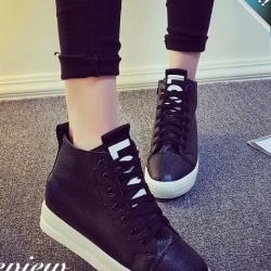รองเท้าผ้าใบผู้หญิงสีดำ แบบหุ้มข้อ หนังPU แบบร้อยเชือก ทรงคลาสสิค ฮิตตลอดกาล แฟชั่นพร้อมส่ง