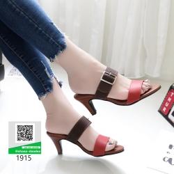 รองเท้าส้นสูง แบบเปิดส้น สายคาด2ตอน สวยหรู 1915-น้ำตาล [สีน้ำตาล ]