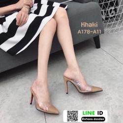 รองเท้าส้นสูงหัวแหลม สักหราด A178-A11-KHA [สีกากี]