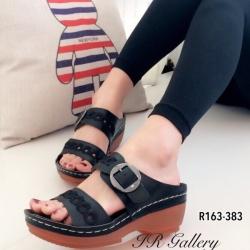 รองเท้าแตะสไตล์ลำลอง เปิดส้น พื้นสุขภาพ แนววินเทจ (สีดำ )