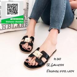 รองเท้าแตะฟั่นสีดำ Style Hermes (สีดำ )