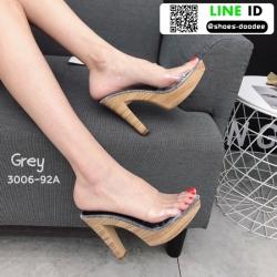 รองเท้าส้นสูงเปิดส้น ส้นไม้ หน้าใส 3006-92A-GRY [สีเทา]