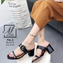 รองเท้าส้นตันเปิดส้นสีดำ สายคาด2ระดับ แต่งเข็มขัดโลหะ (สีดำ )