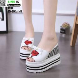 รองเท้าแบบสวมส้นเตารีด งานนำเข้า100% ST07-WHI [สีขาว]