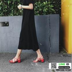 รองเท้าส้นสูงรัดส้น งานเกาหลี หนังPU G-1422-RED [สีแดง]