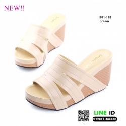 รองเท้าสไตล์ลำลองแบบสวมวัสดุเป็นหนังพียูอย่างดี 981-118-CREAM [สีครีม]