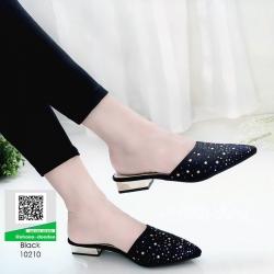 รองเท้าหัวแหลม ส้นทอง สไตล์ซาร่าห์ 10210-ดำ [สีดำ]