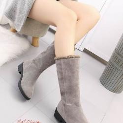 รองเท้าบูท ผ้าสักหลาด ด้านในบุนวม พับได้ (สีเทา )