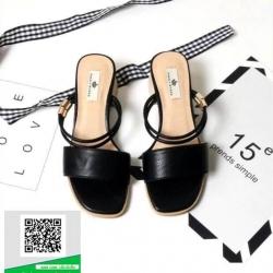รองเท้าส้นตันสีดำ รัดส้น ส้นไม้สวยเกร๋ (สีดำ )