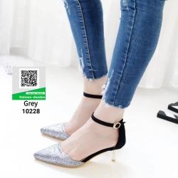 รองเท้าส้นสูงหัวแหลมที่ตอบโจทย์ สาวทันสมัย 10228-เทา [สีเทา]