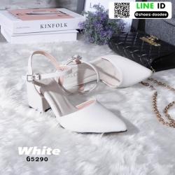 รองเท้าส้นเหลี่ยมรัดข้อ หัวแหลม G5290-WHI [สีขาว]