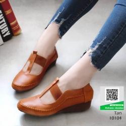 รองเท้าสไตล์ Loafer ใส่ยางยืด แบบที่สาวๆรีเควส 10104-แทน [สีแทน]