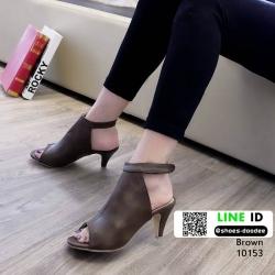 รองเท้าส้นสูงลุกส์ปราด้าที่รัดข้อ 10153-น้ำตาล [สีน้ำตาล ]