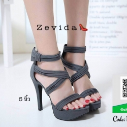 รองเท้าส้นเข็มรัดข้อสีเทา สไตล์เกาหลี งานผ้า (สีเทา )