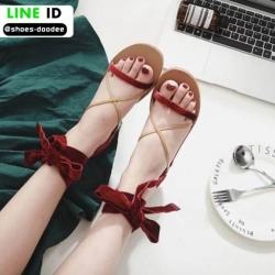 รองเท้าแตะพันขา สายคาดหนังสักราจ G-1264-RED [สีแดง]
