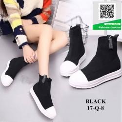 รองเท้าบูทสั้นสีดำ งานนำเข้า สไตล์เกาหลี (สีดำ )