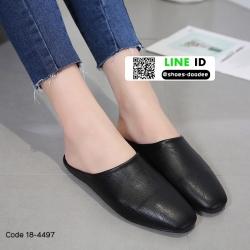 รองเท้าสไตล์สวมงานหนังพียูเนื้อนิ่มจ้า 18-4497-BLK [สีดำ]